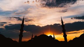 Timelapse of famous Sultanahmet or Blue Mosque in Istanbul cityscape at sunset, Turkey stock footage