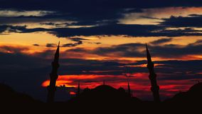 Timelapse of famous Sultanahmet or Blue Mosque in Istanbul cityscape at sunset, Turkey stock video footage
