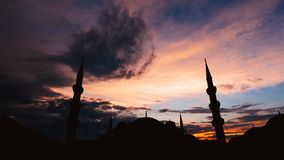 Timelapse of famous Sultanahmet or Blue Mosque in Istanbul cityscape at sunset, Turkey stock video