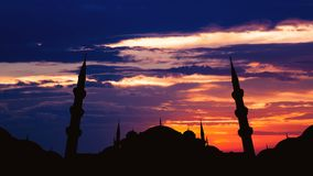 Timelapse of famous Sultanahmet or Blue Mosque in Istanbul cityscape at sunset, Turkey. Timelapse view of famous Sultanahmet or Blue Mosque in Istanbul cityscape stock video