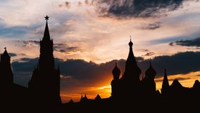 Timelapse of gorgeous sunset on Moscow historical center Red Square and Kremlin tower silhouette stock footage