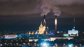Timelapse view of historical building and moscow domntown skyline. At night stock video footage