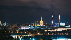 Timelapse view of historical building and moscow downtown skyline. At night stock video