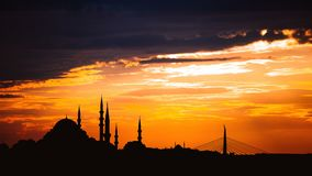 Timelapse view of Istanbul cityscape with famous Suleymaniye mosque at sunset stock video footage