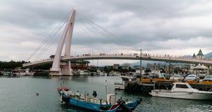 Timelapse View Of Love Bridge In Tanshui Fisherman's Harbour. 4K stock video footage