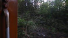 Timelapse view of Nuwara Eliya landscape from a moving train, Sri Lanka stock video