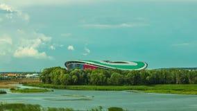 Timelapse View Over River at Kazan Arena Football Stadium. KAZAN, TATARSTAN/RUSSIA - AUGUST 07 2014: Timelapse view over calm river at Kazan Arena football stock video
