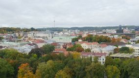 Timelapse view over the Vilnius city area in autumn stock video