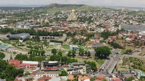 Timelapse view of the Tbilisi city center aerial view from Narikala Fortress, Georgia stock video