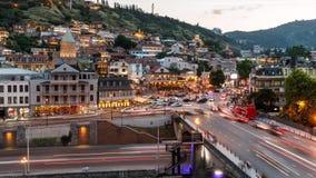 Timelapse view of the Tbilisi city center, Metekhi Bridge and Narikala Fortress, Georgia stock video footage