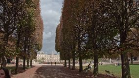 Timelapse of visiting Luxembourg Gardens. Tree lined promenade and Palace, Paris. Paris, France - September 29, 2017: Timelapse shot of walking in Luxembourg stock footage