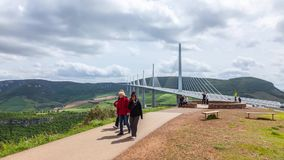 Timelapse of Visitors of the Viaduc MIllau stock footage