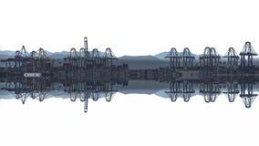 Timelapse von Hafenkränen reflektierte sich über weißem Hintergrund stock video