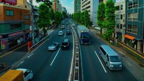 Timelapse w centrum ulica przy Kanpachi aleją w Tokio strzału dziennym szerokim panning zbiory wideo