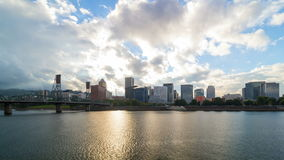 Timelapse of white clouds over downtown city skyline along Willamette River in Portland Oregon 4k uhd. Ultra high definition 4k timelapse movie of white clouds stock video footage