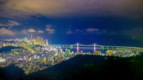 Timelapse wideo Busan miasto przy nocą, Południowy Korea zbiory