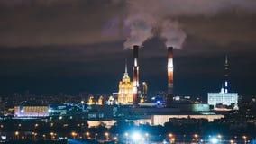 Timelapse widok dziejowa budynku i Moscow domntown linia horyzontu zdjęcie wideo