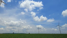 Timelapse wind turbines generating electricity. stock video footage