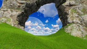 Timelapse windy clouds over the green grass field. Through hole Full HD stock footage