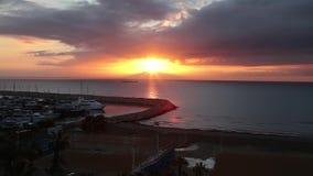 Timelapse Wschód słońca w marina zbiory