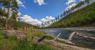 Timelapse of Yellowstone River,Yellowstone National Park, United States. Summer Timelapse of Yellowstone River with clouds on blue sky shooted from motorized stock video