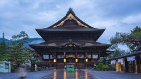 Timelapse of Zenkoji Temple at night in Nagano, Japan time lapse 4K.  stock video