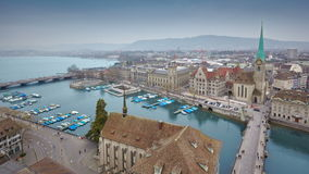 Timelapse of Zurich skyline and the Limmat river stock video