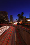Timelapsed Traffic in Downtown Los Angeles at Nigh. Vertical Image Timelapsed Traffic in Downtown Los Angeles at Night Royalty Free Stock Photos