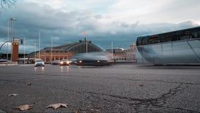 Timelapsestormloop ons verkeer in de stad van Madrid stock videobeelden