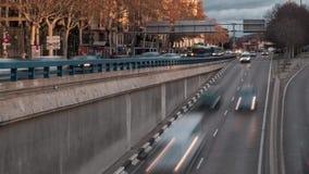 Timelapseverkeer in de stad van Madrid stock videobeelden