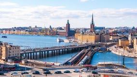 Timelapsevideo van cityscape van Stockholm in Zweden, Tijdtijdspanne 4k stock videobeelden