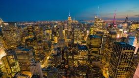 Timelapsevideo van de Stad van New York bij nacht stock videobeelden