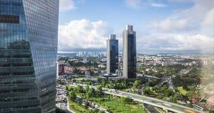 Timelapsevideo van Levent-bedrijfsdistrict met Sabanci-torens, Istanboel, Turkije stock videobeelden