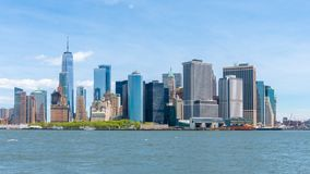 Timelapsevideo van Lower Manhattanhorizon stock video