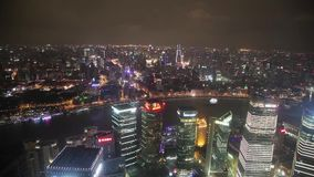 Timelapsevideo van Shanghai CBD bij nacht stock video