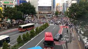 Timelapsevideo van stroom van verkeer en de voetgangersoversteekplaats beroemde Shibuya kruising in Tokyo, Japan stock video