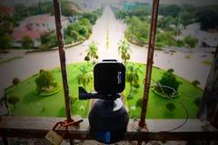 Timelapsing la ville de Vientiane de Patuxai image libre de droits
