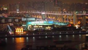Timelaspe射击了黄浦江在晚上,上海,中国 股票录像