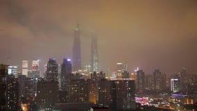 Timelaspe που πυροβολείται της περιοχής pudong της πόλης της Σαγκάη τη νύχτα φιλμ μικρού μήκους