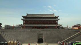 Timelaspe сняло южных ворот городской стены Сиань, xian, Шэньси, Китая акции видеоматериалы
