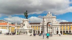 timelaspe 4k del cuadrado del comercio - Parça haga el commercio en Lisboa - Portugal - UHD almacen de video