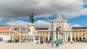timelaspe 4k del cuadrado del comercio - Parça haga el commercio en Lisboa - Portugal - UHD almacen de metraje de vídeo