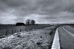 Timeless farm landscape with clouds. This picture was made in Vleuten, the Netherlands (Europe Stock Photography