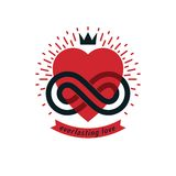 Timeless Love concept, vector symbol created with infinity loop Stock Photography