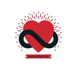 Timeless Love concept, vector symbol created with infinity loop Royalty Free Stock Images