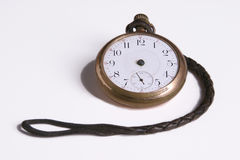 Timeless watch. Pocketwatch missing hour and minute hands isolated on white background Royalty Free Stock Photography