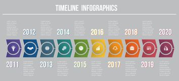 Timeline arrows 10 positions template for infographics. Timeline arrows 10 positions template for infographic  to use for flowchart, workflow, banner, diagram Stock Photography