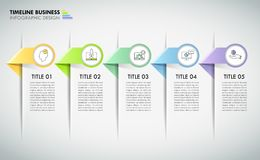 Timeline business concept infographic template 5 steps. Can be used for workflow layout, diagram, number options, timeline or milestones project stock illustration