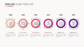 Timeline chart infographic design for data visualization. 6 step Stock Photos