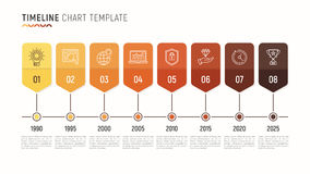 Timeline chart infographic template for data visualization. 8 st Stock Photography